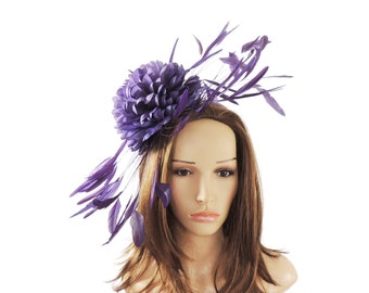 Margeaux Purple Fascinator Hat for Weddings, Races, and Special Events With Headband