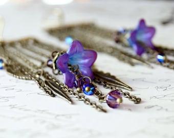 Purple Lucite Flower Chandelier Earrings, Feather Earrings