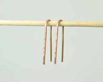 Copper Open Hoop Earrings,Horseshoe Earrings,Arc Earrings,Simple Earrings, Pure Copper ,Arc Earrings, Copper Open Hoop,Minimal Earrings