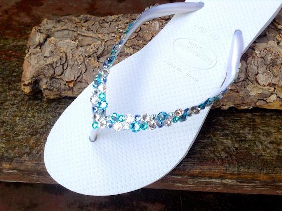 White Blue Aqua Crystal Flip Flops Havaianas Slim Custom w/ Swarovski Crystal Rhinestone Sea Glass Slippers Beach Wedding Jewel Bridal shoes