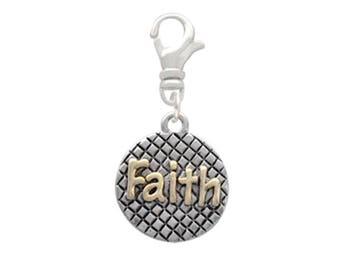 GOLD FAITH On Silver Hatched Disc Swivel Clip On Charm USA Seller