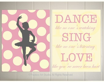 Nursery art, baby girl nursery, ballerina nursery, polka dot nursery, inspirational quotes, girls room or teen room art, Set of 2, 8x10