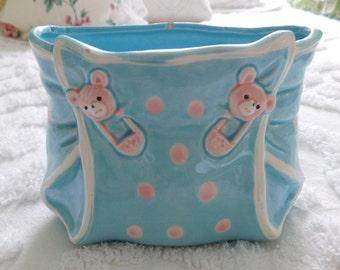 Vintage Ceramic Baby/Nursery Planter/By Lefton Japan/ Blue and Pink Diaper