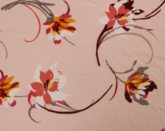 Blush Peachy Flowers on Polyester and Spandex Bubble Chiffon Fabric by the Yard- Style P-124-586