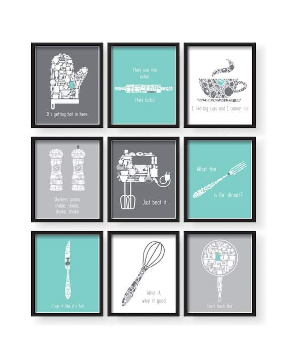 Set Of 9   Teal White Gray Kitchen Funny Quotes Art Set, Teal Kitchen Decor, Gray Kitchen Print, Teal Kitchen Wall Art, Kitchen Prints 9 Set by Etsy