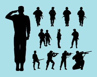SVG | DXF | PNG Cut Files, Silhouette Soldier Cutting File, Silhouette Military Army Svg Files, Silhouette Army Cricut File Instant Download