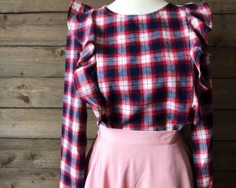 SALE Ruffled Plaid Navy and Maroon Blouse