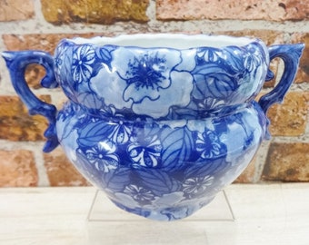 Vintage Regency Ironstone Blue and white Chintz planter plant pot