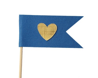 Royal Blue and Gold Flag Heart Cupcake Toppers / Appetizer Picks / Food Picks /