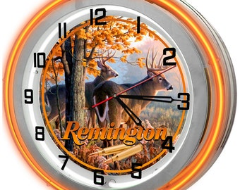 Remington Rifles Orange Double Neon Clock