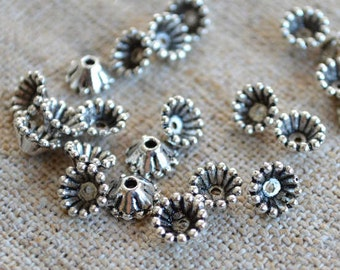 100pcs Antiqued Silver Plated Pewter Bead Cap 8x3mm Cone For 6-12mm Bead