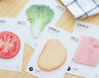 Tasty Sandwich Sticky Notes ~ Self Adhesive Memo Pad, Notepad, Planner Notes, Stationery, Novelty Funny Notes, Lettuce Tomato Ham Bread Note