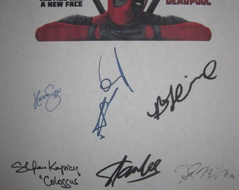 Deadpool Signed Film Movie Script Screenplay X11 Autographs Ryan Reynolds Brianna Hildebrand Morena Baccarin Karan Soni T.J. Miller Stan Lee