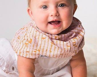 """Modern Bib (Caramel Trails) All in One Scarf & Bib """"Scabib for babies or toddlers"""
