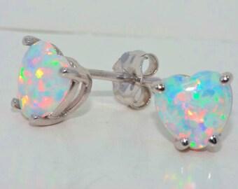 14Kt White Gold Opal Heart Shape Stud Earrings