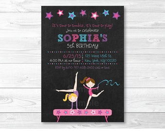 Gymnastics Birthday Invitation / Chalkboard Gymnastics Birthday Invite / PRINTABLE A193