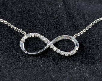 Infinity 14kt White Gold and Diamond Pendant Necklace