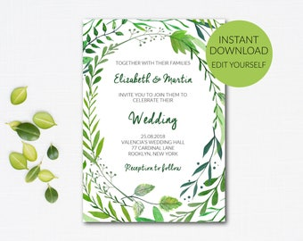 Greenery Wedding Invitation Template Pdf, Rustic Wedding, Green Wedding, Editable Invitation, Pdf Template, INSTANT DOWNLOAD