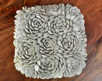 Escheveria - Luxe Textured Wall Tile - Ceramic Wall Sculpture - Ceramic Wall Art - Porcelain Wall Tile - Ceramic Wall Flower