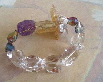 corsage bracelet of mixed media gemstones and pearls