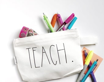 Customizable Rae Dunn Pencil Pouch // Teacher Pouch // Pen Pouch // Rae Dunn Pen Pouch // Rae Dunn Inspire Pencil Pouch // Rae Dunn Teacher