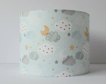 Star lampshade cloud nursery decor girl cloud mobile taupe blue cloud lampshade ceiling cloud nursery decor moon and stars nursery lamp shade mozeypictures Images