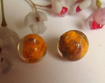 set of 10 yellow and gold lampwork glass round beads