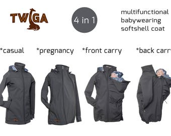 Beautiful babywearing softshell jacket with hood - grey. Baby and mother, 4 in 1, baby carrying coat GREY
