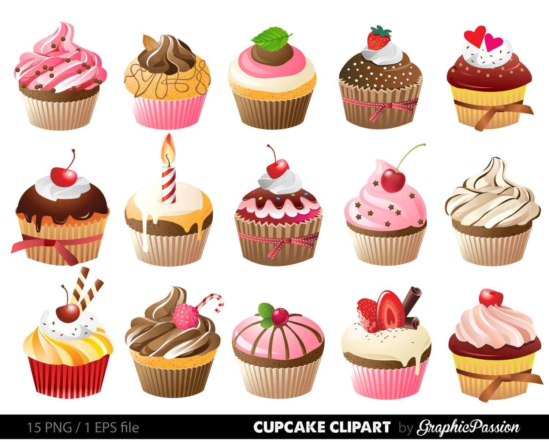 Cupcakes Clipart digitale Kuchen Clip Kunst Kuchen digitale