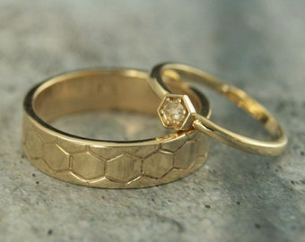 Gold Honeycomb Set Gold Wedding Set His and Hers Rings Hexagon Ring Rose Cut Diamond Ring Gold Wedding Band Set Men's Gold Band Cast Band
