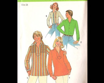 1978 Simplicity Men's Shirt and Pullover Top Pattern 7823 - Vintage Sewing Pattern - CUT - Men's Size 34 - Fashion DIY - Clothing 1970s