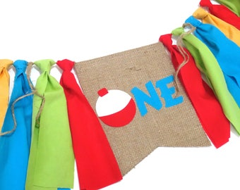 FISHING Woodland Birthday Banner High Chair Highchair Nautical Gone Fishing The Big One Camping Birthday First One Cake Smash Photo Prop