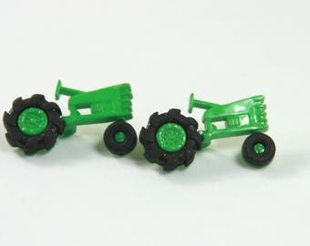Tractor earrings, Tractor studs, Green jewelry, Farm tractor studs, Farm earrings