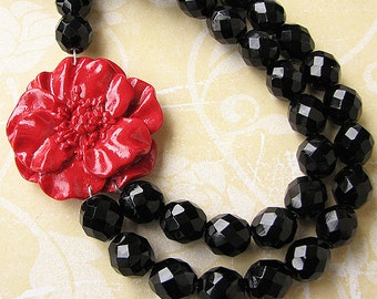 Red Jewelry Statement Necklace Black Necklace Beaded Necklace Bib Necklace Flower Necklace Double Strand