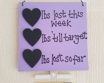 Weight Loss Plaque, Slimming Aid, Chalkboard Countdown, Weight watchers, Slimming World, Hanging Plaque