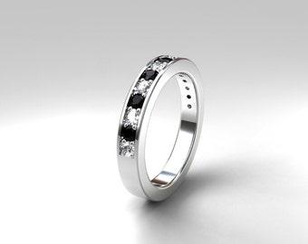 0.45ct Black and white diamond half eternity band, black diamond wedding, white gold, rose gold, platinum, gold, palladium, gothic, diamond