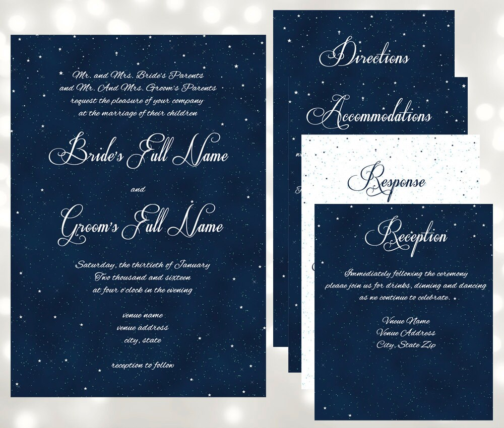 Starry Night Wedding Invitations Under The Stars Wedding