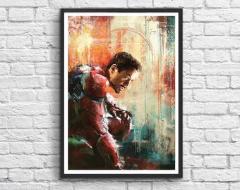 Art-Poster 50 x 70 cm -  Iron Man x Robert Downey Jr.