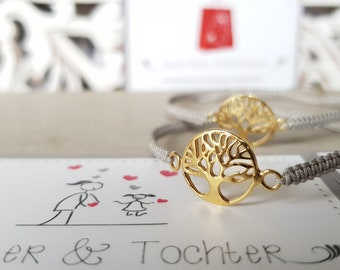 Bracelet Mother daughter Life tree 925 silver gold plated