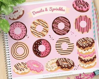 Donuts and Sprinkles Clipart, Doughnuts, baked goods, icing, sweets and candy, bake sale, Commercial Use, Vector clip art, SVG Files
