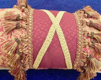 Large DESIGNER Decorative PILLOW - Coral and Gold- Ships FREE!
