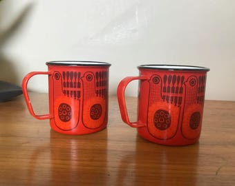Pair of Vintage Finel Enamelware Metal Mugs Arabia Finland Kaj Franck Cups