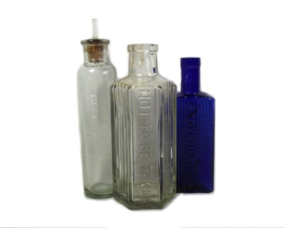 Antique Glass Poison Bottle Collection