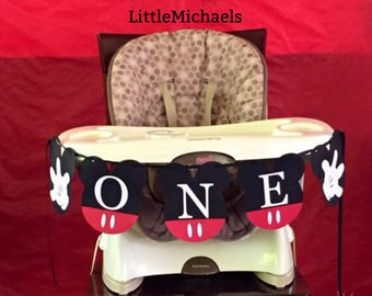 Mickey Mouse Birthday Banner, ONE Banner, Mickey Mouse Highchair Banner, Mickey Mouse Clubhouse Birthday Party Decoration, Custom Banner