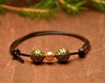 Minimal boho bracelet, leather rope bracelet, ethnic leather bracelet, boho beaded bracelet, rustic bracelet, gift for men, gift for woman