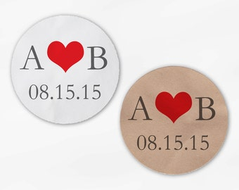Initials & Heart Wedding Favor Stickers - Red and Gray Custom White Or Kraft Round Labels for Bag Seals, Envelopes, Mason Jars (2004)
