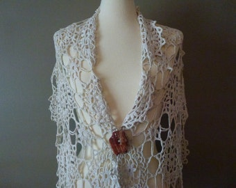 Vintage Upcycled Crochet Shawl with Abalone Shell Button