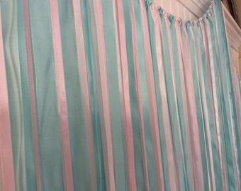 Baby Shower Backdrop, Ribbon backdrop, gender reveal decorations, fabric backdrop, ribbon curtain, gender reveal backdrop