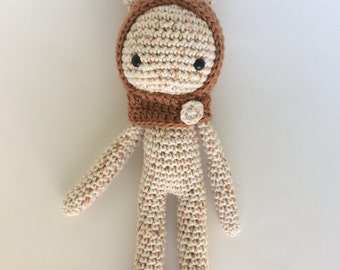 Leah's custom order!Crochet cream speckled bunny with hooded cowl handmade doll Amigurumi gift