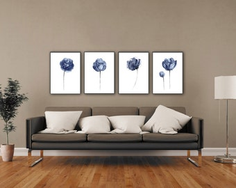 Peony Watercolor Painting Abstract Flowers set 4 Peonies Navy Wall Decor, Floral Illustration Blue Flower Art Print Minimalist Modern Home
